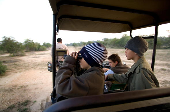Children on a guided game drive.