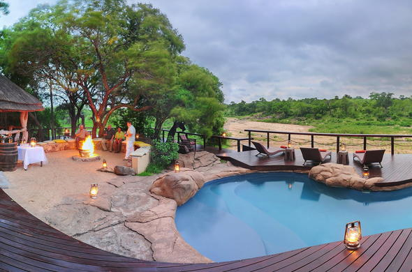 The pool and alfresco dining area at Jock Safari Lodge.