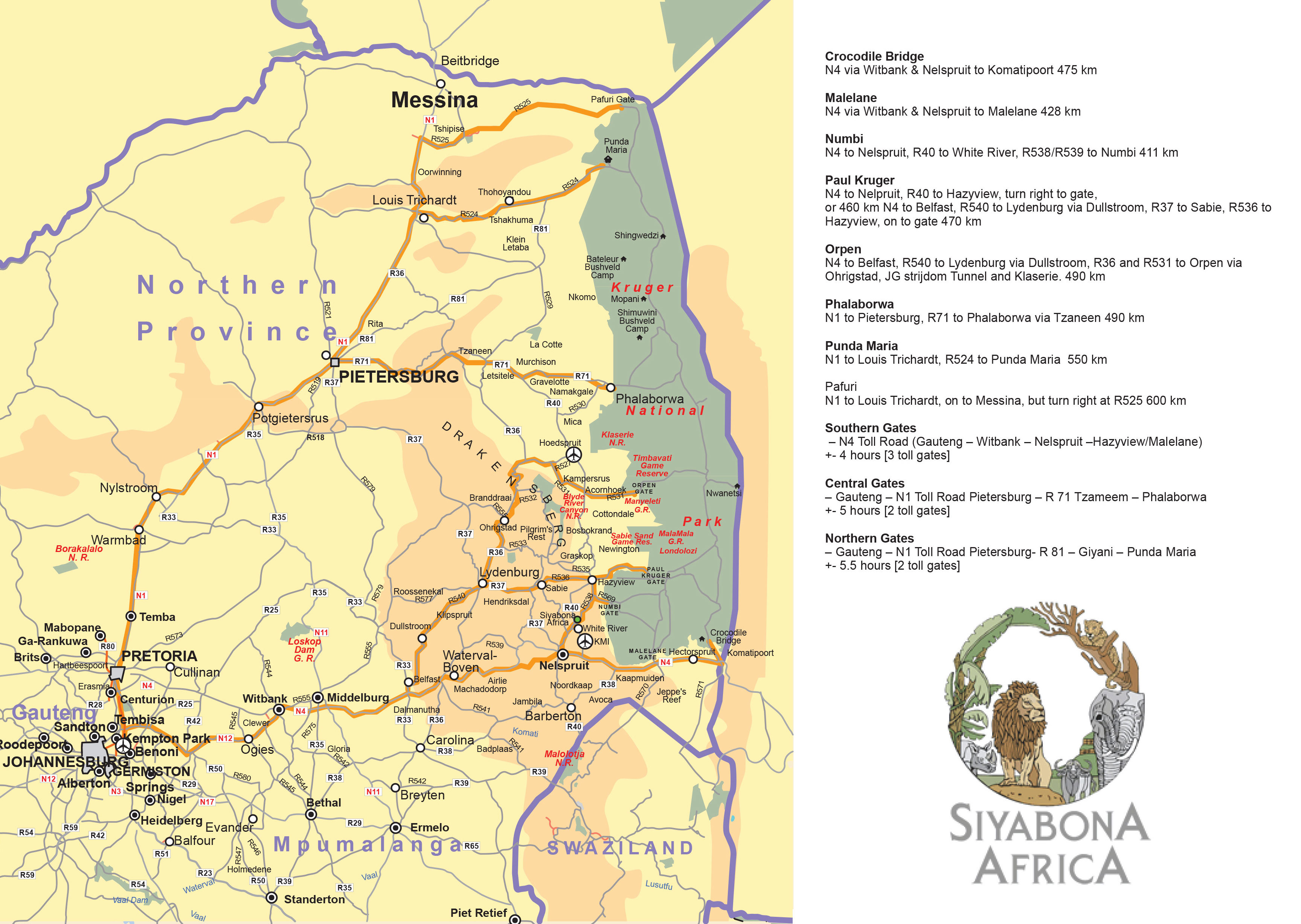 Johannesburg to Kruger Map  Kruger National Park Travel