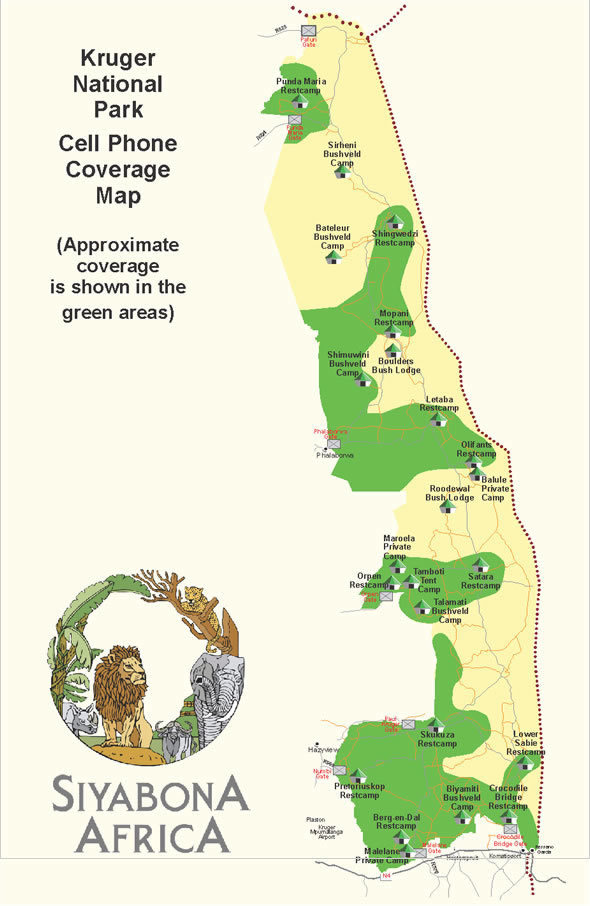 Cell Phone Coverage in Kruger Park map