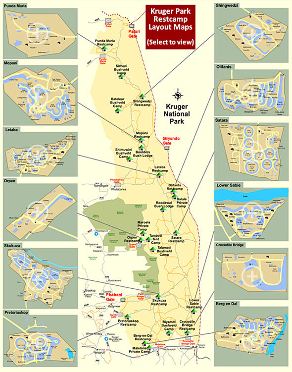 Kruger Park Entrance Gates and Camps Map  Kruger Park Travel