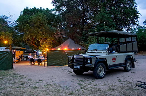 Classic Kruger Park Safari camp at night.