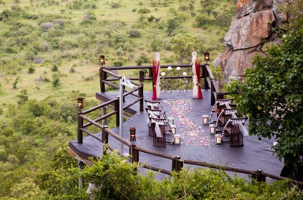 Romantic Kruger Park wedding ceremony on deck.