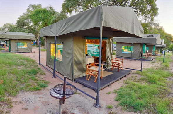 Tented accommodation inside the Kruger National Park.