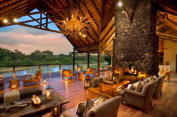 The opulent Lion Sands Narina Lodge guest lounge.