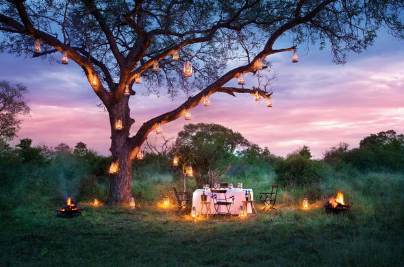 Romantic setting in the African bush.