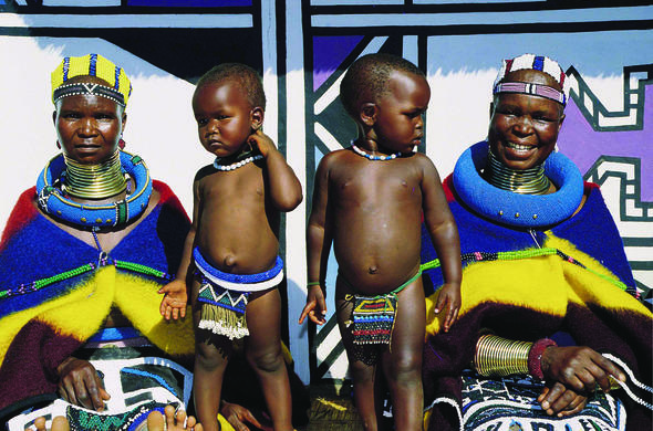 Ndebele women with their children.
