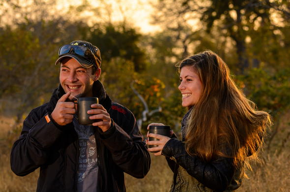 Morning coffee in the bush before your game drive.