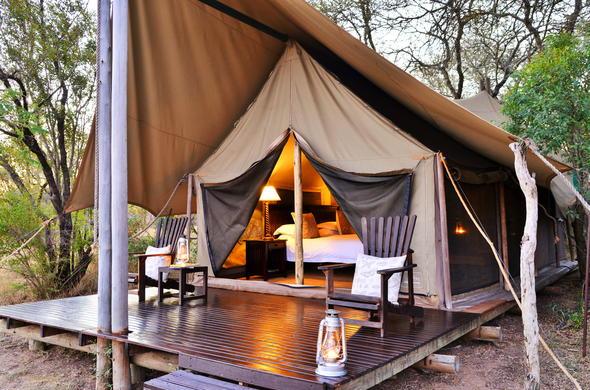 Tented accommodation in the Kruger National Park.