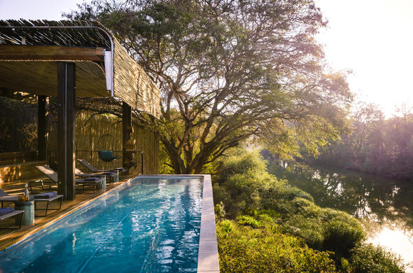 Singita Sweni Lodge swimming pool.